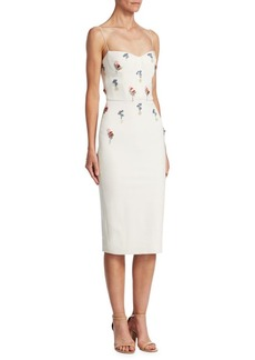 Cushnie Et Ochs Embroidered Bustier Pencil Dress