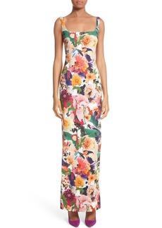 Cushnie et Ochs Floral Print Sheath Gown