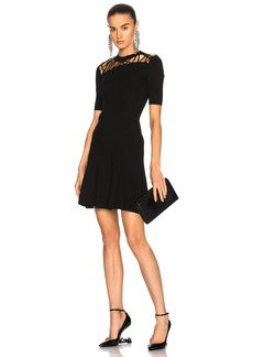 Cushnie et Ochs Fractured Lacing Short Sleeve Flare Dress