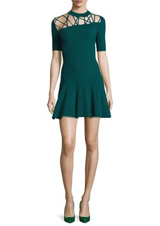 Cushnie Et Ochs Frances Ribbed Fit & Flare Dress with Lacing