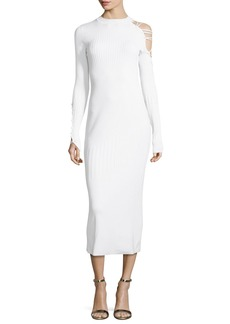 Cushnie Et Ochs Gabriela Mock-Neck Lace-Up Dress with Ribbed Panels