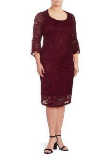 Cushnie et Ochs Glitter Lace Bell Sleeve Dress