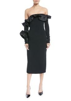 Cushnie Et Ochs Iria Off-the-Shoulder Long-Sleeve Fitted Cocktail Dress w/ Taffeta Ruffles