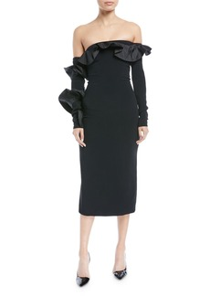 Cushnie Et Ochs Iria Off-the-Shoulder Long-Sleeve Fitted Cocktail Dress w/ Taffeta Ruffles