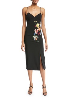 Cushnie Et Ochs Ivana Camisole Cocktail Dress w/ 3-D Floral-Embroidery