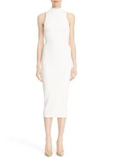 Cushnie et Ochs Knit Lace-Up Racerback Midi Dress