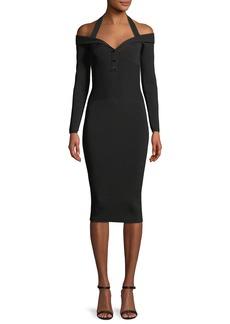 Cushnie Et Ochs Laia V-Neck Long-Sleeve Fitted Knit Cocktail Dress