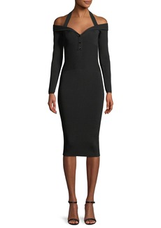 Cushnie Et Ochs Laia V-Neck Long-Sleeve Fitted Knit Cocktail Dress
