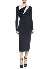 Cushnie Et Ochs Larissa Long-Sleeve Sequined-Panel Dress