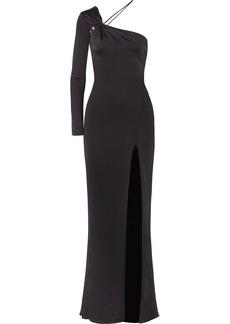 Leonora one-shoulder embellished satin-jersey gown