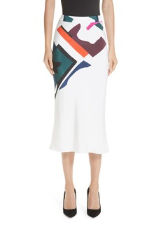 Cushnie et Ochs Lia Expressionist Print Pencil Skirt