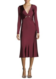 Cushnie Et Ochs Magdelena V-Neck Long-Sleeve Fitted Glossy Midi Cocktail Dress