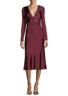 Cushnie Et Ochs Magdelena V-Neck Long-Sleeve Fitted Glossy Midi Cocktail Dress