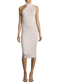 Cushnie Et Ochs Metallic Knit Cold-Shoulder Dress