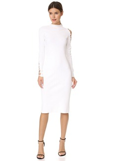 Cushnie Et Ochs Midi Dress with Fractured Lacing