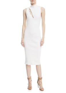 Cushnie Et Ochs Mock-Neck Sleeveless Dress with Ring Details