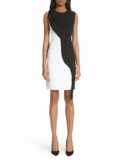 Cushnie et Ochs Nisa Two-Tone Asymmetrical Fringe Dress