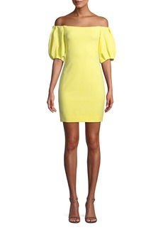 Cushnie Et Ochs Off-the-Shoulder Balloon-Sleeve Mini Dress