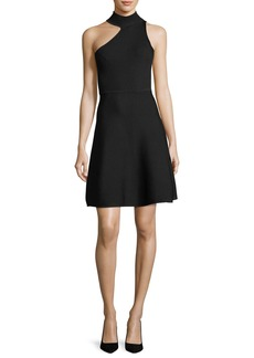 Cushnie Et Ochs One-Shoulder Mock-Neck Minidress
