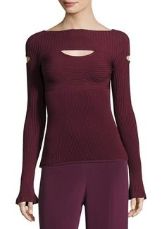 Ribbed Boat-Neck Top with Cutouts