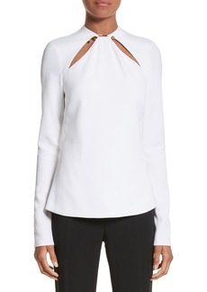 Cushnie et Ochs Ring Detail Cutout Stretch Crepe Blouse