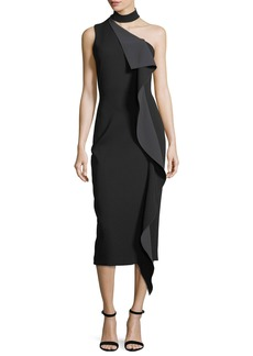 Cushnie Et Ochs Ruffled One-Shoulder Midi Dress