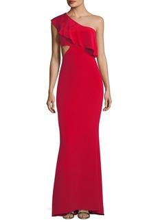 Cushnie Et Ochs Ruffled One-Shoulder Silk Gown