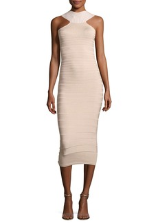 Cushnie Et Ochs Sleeveless Bandage Midi Cocktail Dress