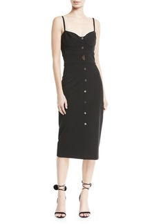 Cushnie Et Ochs Spaghetti-Strap Button-Front Midi Dress with Seam Detail