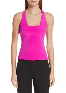 Cushnie et Ochs Square Neck Silk Tank Top