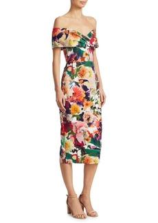 Surrealist Floral Off-The-Shoulder Dress