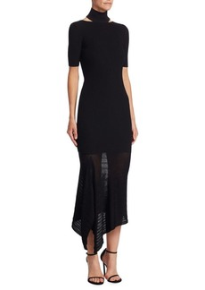 Cushnie Et Ochs Turtleneck Asymmetrical Midi Dress