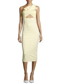Cushnie Et Ochs Twist-Front Bustier Midi Dress
