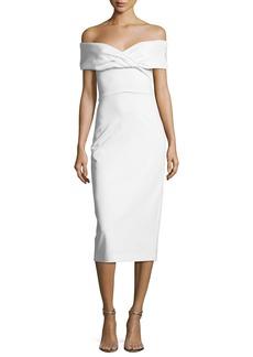 Cushnie Et Ochs Twisted Off-Shoulder Midi Dress