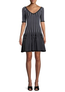 Cushnie Et Ochs V-Neck Elbow-Sleeve Striped Fit-and-Flare Knit Mini Dress