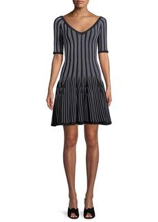 Cushnie Et Ochs V-Neck Elbow-Sleeve Striped Fit-and-Flare Knit Mini Dress