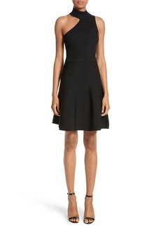 Cushnie et Ochs Vika One-Shoulder Knit Flare Dress