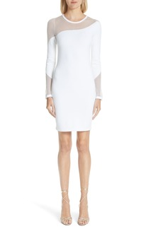 Cushnie et Ochs White River Sheer Panel Knit Dress
