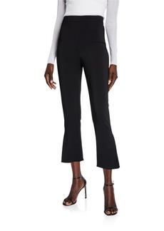 CUSHNIE High Rise Cropped Flare-Cuff Pants