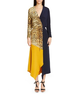 CUSHNIE Leopard Colorblock Long Sleeve Silk Dress