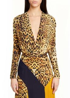 CUSHNIE Leopard Print Plunging Silk Bodysuit