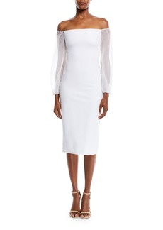 290208f1dd Cushnie Et Ochs CUSHNIE Off-the-Shoulder Organza-Sleeve Fitted Midi  Cocktail Dress