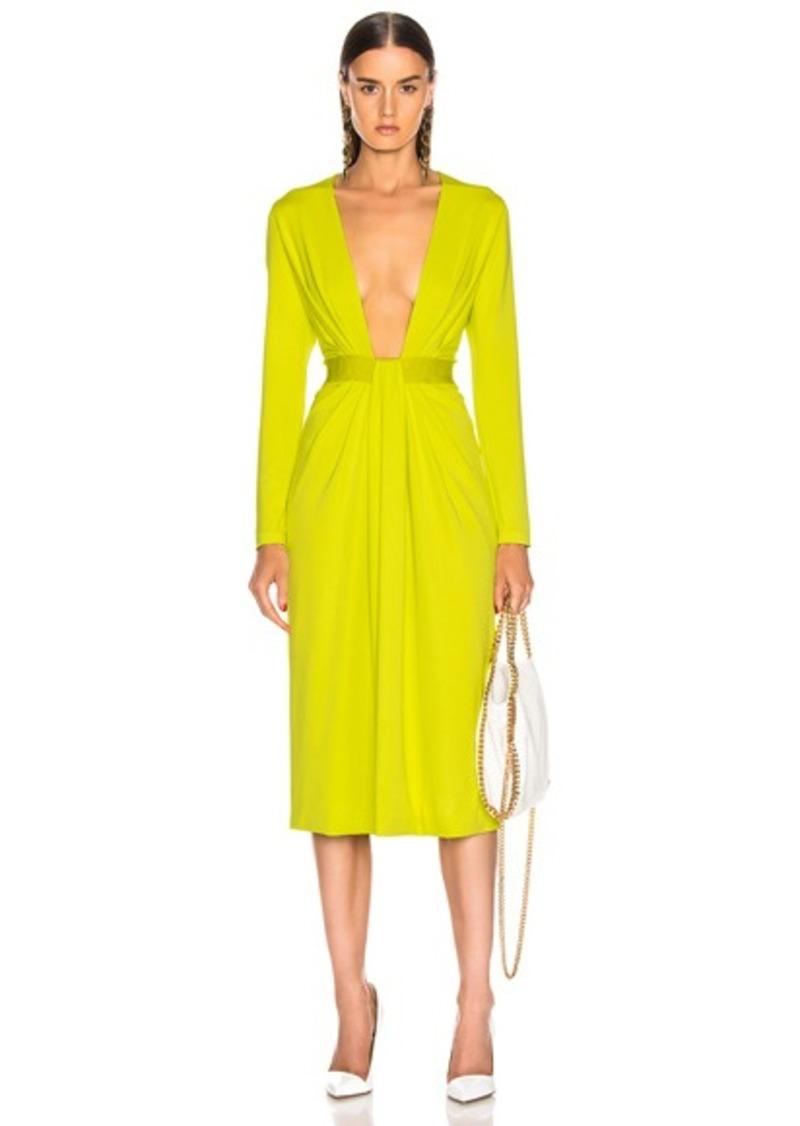Cushnie Plunging Long Sleeve Dress