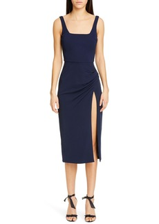 CUSHNIE Square Neck Side Slit Midi Dress