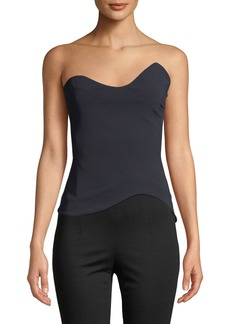 Cushnie Et Ochs CUSHNIE Strapless Fitted Top w/ Curved Neck & Hem