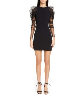 CUSHNIE Tulle Long Sleeve Minidress