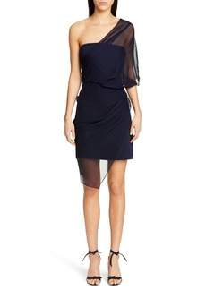 CUSHNIE Tulle Overlay One-Shoulder Silk Minidress