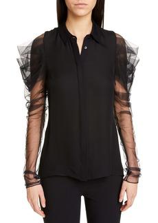 CUSHNIE Tulle Sleeve Silk Blouse