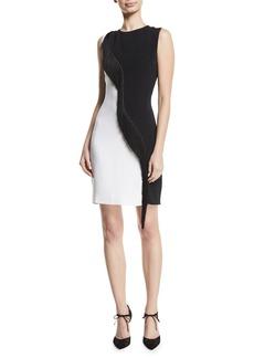 CUSHNIE Two-Tone Cady Sleeveless Mini Dress w/ Asymmetric Fringe
