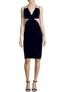 Cutout Double-Strap Velvet Dress